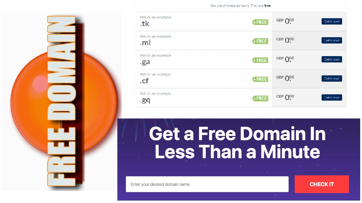Free Domain Registration for 1 Year 100% .TK .ML .GA .CF .GQ for Blog or Personal Website Hosting